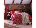 Red Tartan Single Duvet Cover Set Check