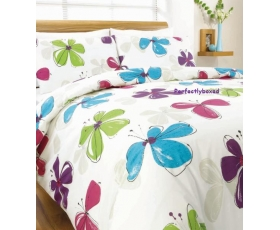 Hippy Flowers Pink Blue King Duvet Funky 70s Retro Floral
