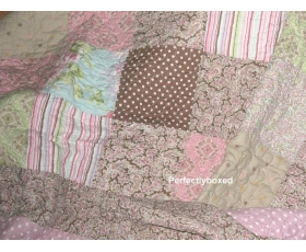 Bedspread Patchwork Paisley Pink Green Lilac Single + sham Claudia