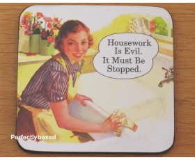 Robert Opie Coasters Housework is Evil Joke Drinks Mat