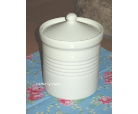 Cream Ribbed Storage Pot Ceramic Retro Pantry Airtight Kitchen