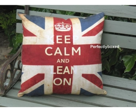 Union Jack Keep Calm Cushion Cover Vintage Retro
