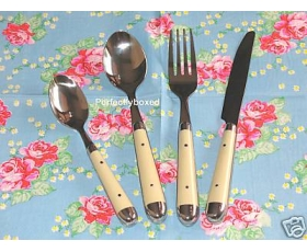 Cutlery 16 piece set Cream Chrome Finish Kitchen Dining Room