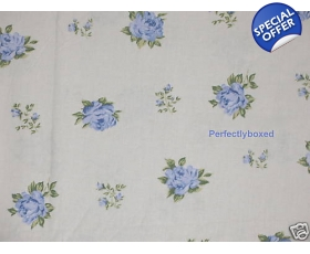 Deep Fitted Sheet Roses Blue Toile Double Vintage Style Floral