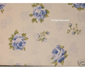 Curtains Floral Roses Blue 66 x 72 Lined Cotton Ready Made