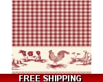 Red Farmhouse Tablecloth 140cm Square Oilcloth S..