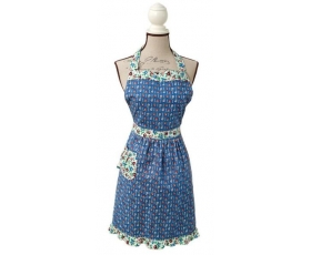 Apron French Daisy Vintage Floral Blue Pink