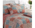 Red Paisley Patchwork Superking Quilt Incl 2 Shams