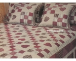 Bedspread Georgia Red Patchwork Hearts King + 2 ..
