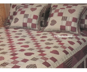 Bedspread Georgia Red Patchwork Hearts King + 2 Shams American Quilt