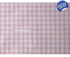 Deep Fitted Sheet Gingham Check Pink Double