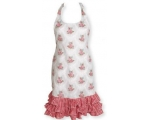 Greengate Aprons Gabriella Linen Frill Cream Red..