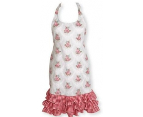 Greengate Aprons Gabriella Linen Frill Cream Red Vintage Floral