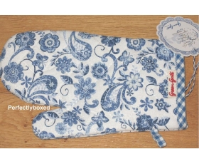 Greengate Ginger Blue Grill Gloves Floral Toile Vintage Oven Mit