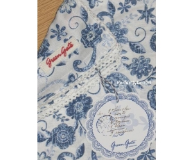 Greengate Napkin Ginger Blue Floral Paisley Toile Vintage Retro