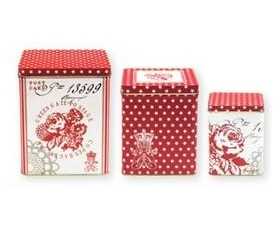 Greengate Set 3 Tins Boxes Fay Red Storage Vintage Floral