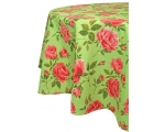 Green Pink Floral Tablecloth 52 x 70 inch Vintag..