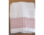 Hand Towel Gingham Pink White Bathroom Cloakroom..