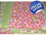 Bedspread Patchwork Pink Green Double Floral + 2..