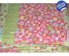 Bedspread Patchwork Pink Green King Floral + 2 Pillowshams Hawaii