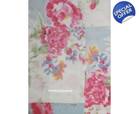 Duvet Set Single Floral Blue Pink Patchwork Vintage Keira