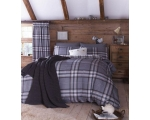 Grey Tartan Single Duvet Cover Set Check