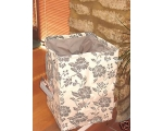 Tobs Floral Storage Hamper Cream Grey Linen Laun..