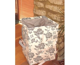Tobs Floral Storage Hamper Cream Grey Linen Laundry Basket