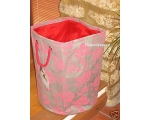 Tobs Floral Storage Hamper Red Taupe Linen Laund..