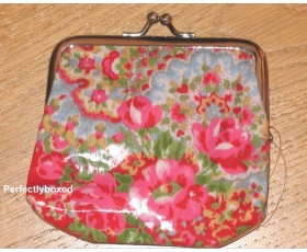 Cath Kidston Clasp Purse Paisley Red Floral Coin Wallet Oilcloth