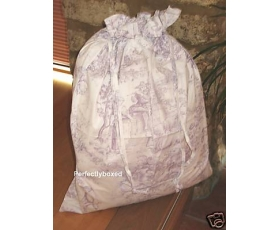 Toile de Jouy Lilac Laundry Bag Purple Linen Storage