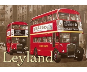 Red Leyland Bus Metal Wall Sign Retro Vintage