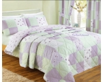 Purple Throw Double Floral Patchwork Quilt Bedsp..