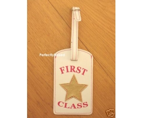 Luggage Tag First Class Pink Gold Bling