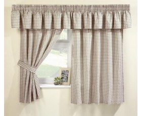 Natural Gingham Curtains 66 x 48 Incl Pelmet Tie Backs Farmhouse