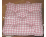 Seat Pad Pink Gingham Check Retro Kitchen Garden..