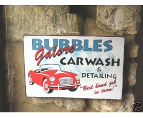 Metal Sign Bubbles Car Wash American Style