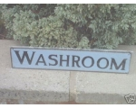 Metal Sign Washroom Blu..