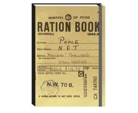 Opie Ration Book Notebook A6 Ruled Hardback Journal Retro