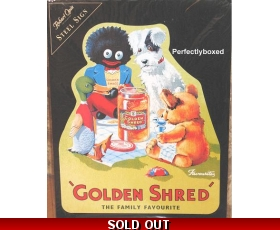 Robert Opie Large Metal Sign Golden Shred Golly Retro Shaped