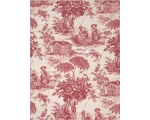 Red Toile de Jouy Quilt Throw Topper with 1 Cush..