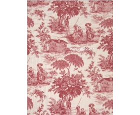 Red Toile de Jouy Quilt Throw Topper with 1 Cushion Cover Osprey