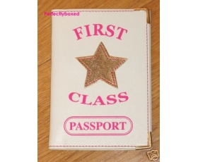 Passport Holder First Class Pink Gold Bling