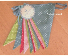 Polka Dot Bunting Vintage Retro Fabric 8m Party BBQ 15 Flags