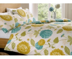 Teal Blue Lime Green Double Duvet Retro Floral Polona