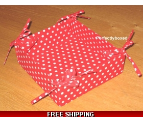 Red Polka Dot Breakfast Bread Basket Box Cotton Retro