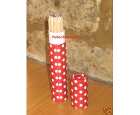 Red Polka Dot Spot Tube Crayons 12 Pencils