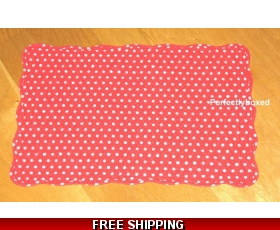 Red Polka Dot Placemats set 2 Cotton Quilted Retro Kitchen Dining Spot