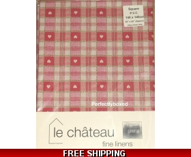Red Hearts Tablecloth 140cm Square Oilcloth Shaker Gingham