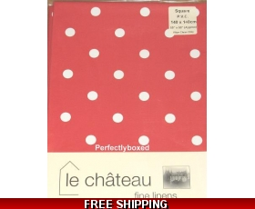 Red Polka Dot Spot Tablecloth 140cm Square Oilcloth